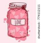 pink vintage glass jar full of... | Shutterstock .eps vector #774112111
