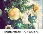 christmas tree with decorated... | Shutterstock . vector #774120571
