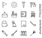 thin line icon set   flag  gear ... | Shutterstock .eps vector #774122905