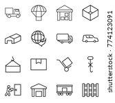 thin line icon set   truck ...   Shutterstock .eps vector #774123091