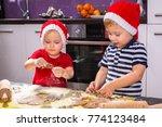 cute little boy and girl twins... | Shutterstock . vector #774123484