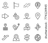 thin line icon set   pointer ... | Shutterstock .eps vector #774124945