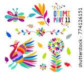 vector folk mexican otomi style ...   Shutterstock .eps vector #774126151