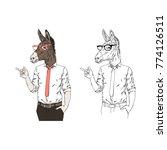 donkey businessman ...   Shutterstock .eps vector #774126511