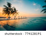 beautiful poolside and sunset... | Shutterstock . vector #774128191