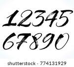 brush lettering numbers. modern ... | Shutterstock .eps vector #774131929