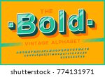 retro font 90's  80's.... | Shutterstock .eps vector #774131971