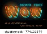 night retro neon font. glowing... | Shutterstock .eps vector #774131974