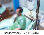 close up saline solution drip...   Shutterstock . vector #774139861