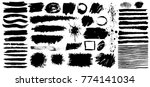 set of black paint  grunge  ink ... | Shutterstock .eps vector #774141034