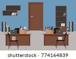 moving to a new office. blue...   Shutterstock .eps vector #774164839