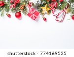 christmas background. red and... | Shutterstock . vector #774169525