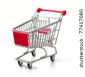 A Shopping Cart Isolated On...
