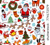 christmas seamless background... | Shutterstock .eps vector #774172579