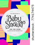 baby shower invitation card. | Shutterstock .eps vector #774174475