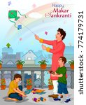 family flying kite for happy... | Shutterstock .eps vector #774179731