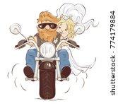 wedding bikers   vector... | Shutterstock .eps vector #774179884