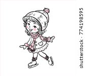 the girl skates.  young girl... | Shutterstock .eps vector #774198595