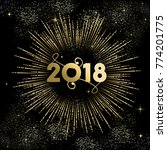 happy new year 2018 gold number ... | Shutterstock .eps vector #774201775