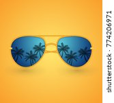 summer sunglasses with palms | Shutterstock .eps vector #774206971