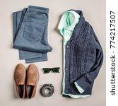 casual men fashion set  jacket  ... | Shutterstock . vector #774217507