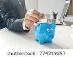 picture of man putting coin... | Shutterstock . vector #774219397