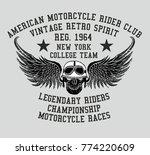vintage skull college style... | Shutterstock .eps vector #774220609