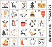 christmas advent calendar with... | Shutterstock .eps vector #774226801