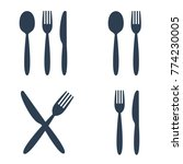 plate fork spoon and knife... | Shutterstock .eps vector #774230005