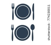 plate fork spoon and knife... | Shutterstock .eps vector #774230011