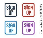 sign up button icons on white...   Shutterstock .eps vector #774230029