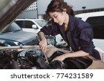 girl in garage | Shutterstock . vector #774231589