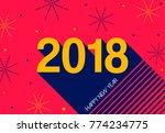 happy new year 2018 typography... | Shutterstock .eps vector #774234775