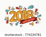 happy new year 2018 number... | Shutterstock .eps vector #774234781