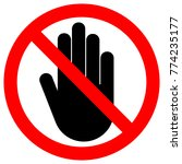no entry sign. left hand palm.... | Shutterstock .eps vector #774235177