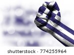 flag of greece painted on male... | Shutterstock . vector #774255964
