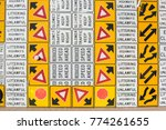 multiple street warning... | Shutterstock . vector #774261655