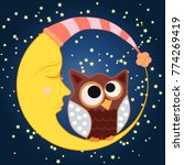 a sweet cartoon owl with eyes...   Shutterstock .eps vector #774269419