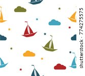 boat and stars seamless baby... | Shutterstock .eps vector #774275575