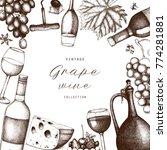 vintage wine card.  vector... | Shutterstock .eps vector #774281881