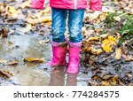 little girl with pink wellys in ... | Shutterstock . vector #774284575