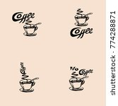 coffee text and coffee mug with ... | Shutterstock .eps vector #774288871