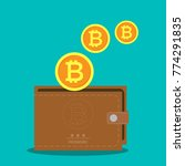 vector brown bitcoin wallet... | Shutterstock .eps vector #774291835