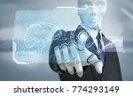 robot in suit working with high ...   Shutterstock . vector #774293149