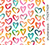 seamless pattern with hearts.... | Shutterstock .eps vector #774297439
