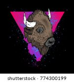 portrait of a bison. can be... | Shutterstock .eps vector #774300199