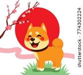 cute shiba inu dog with cherry... | Shutterstock .eps vector #774302224