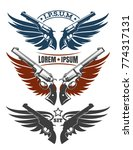 two revolvers and wings emblem... | Shutterstock .eps vector #774317131
