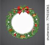 christmas wreath vector  | Shutterstock .eps vector #774318361