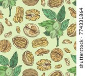 seamless pattern with walnut ... | Shutterstock .eps vector #774331864